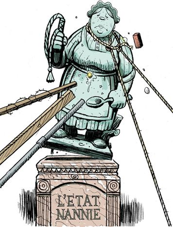 Illustration: Nanny state by Alexander Hunter for The Washington Times