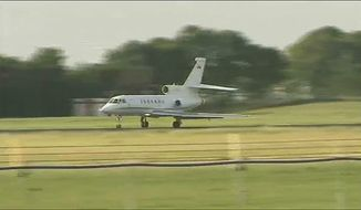 This image taken from Associated Press Television News shows the aircraft believed to be carrying war crimes suspect Ratko Mladic as it lands at Rotterdam The Hague Airport in the Netherlands after a flight from Belgrade, Serbia, on Tuesday, May 31, 2011. (AP Photo/APTN)