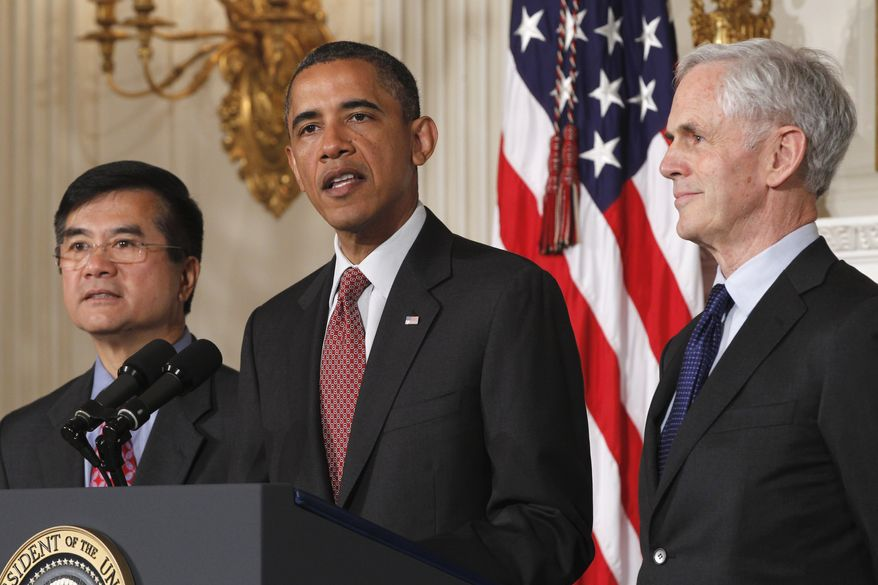 President Obama announces his nomination of John E. Bryson (right) to be the next secretary of commerce on Tuesday, May 31, 2011, in the State Dining Room of the White House in Washington. At left is current Commerce Secretary Gary Locke, who has been appointed U.S. ambassador to China. (AP Photo/Charles Dharapak)