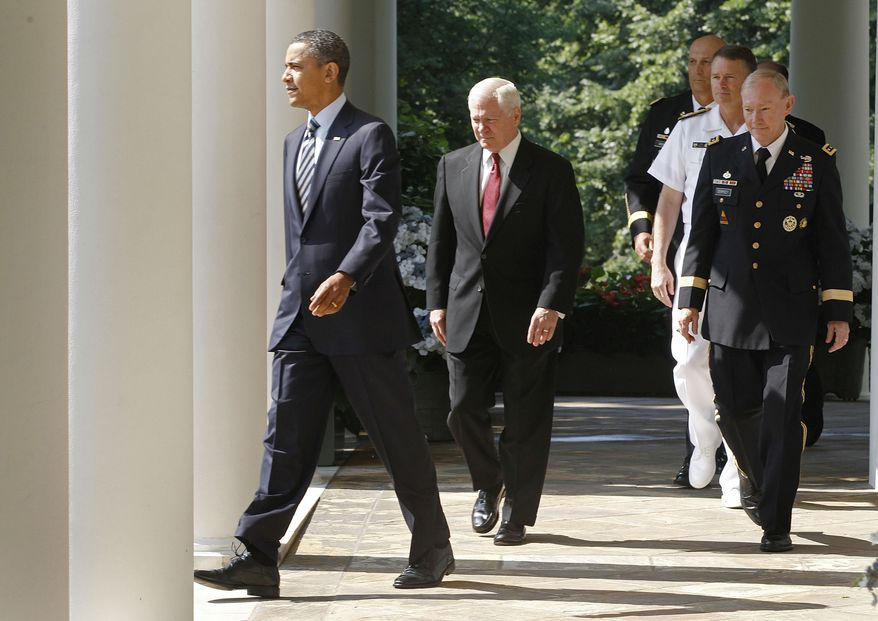 President Obama (left) and Defense Secretary Robert Gates (center) walk on May 30, 2011, to the Rose Garden at the White House with Army Gen. Martin Dempsey (front to back right), President Obama's nominee for the next Chairman of the Joint Chiefs of Staff; Adm. James Winnefeld, nominee for vice chairman of the Joint Chiefs; and Gen. Ray Odierno, the nominee for Army Chief of Staff. (Associated Press)