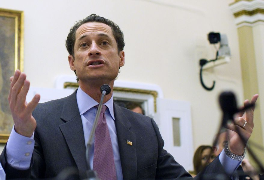 **FILE** In this photo from Jan. 6, 2011, Rep. Anthony Weiner, New York Democrat, testifies before the House Rules Committee on Capitol Hill. (Associated Press)
