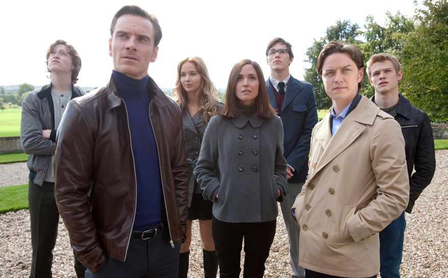 """20th Century Fox via Associated Press From left: Caleb Landry Jones, Michael Fassbender, Jennifer Lawrence, Rose Byrne, Nicholas Hoult, James McAvoy and Lucas Till may look normal in this scene from """"X-Men: First Class,"""" but their characters' mutant powers stop a nuclear war and give new life to a story line that should intrigue devotees of the comic book series."""