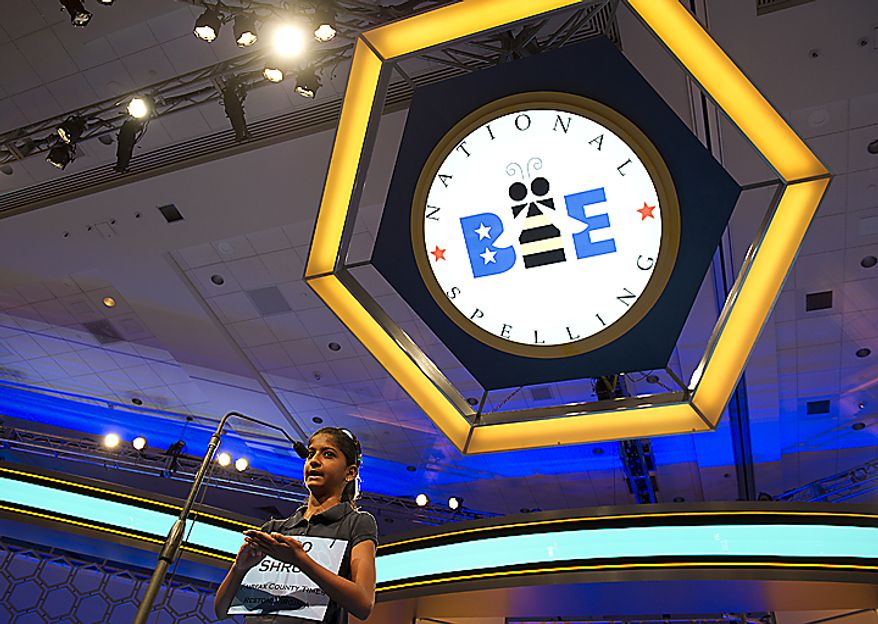 """Shruti Anant, 12, of Centreville, Va., correctly spells """"fistiana"""" during Round Two of the Scripps Howard National Spelling Bee on Wednesday, June 1, 2011. Two hundred and seventy-five spellers from around the country competed in rounds two and three, which were held Wednesday at the Gaylord National in Oxon Hill, Md. Spellers were not eliminated during Wednesday's rounds, but rather earned points towards competing in the semifinals, which will be held tomorrow. (Barbara L. Salisbury/The Washington Times)"""