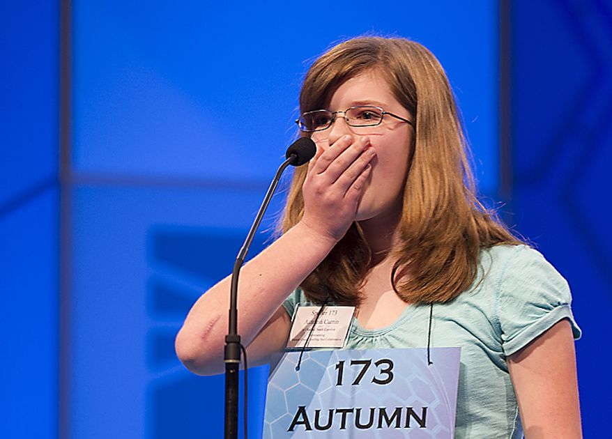 Autumn Currin, 11, of Lillington, N.C., claps her hand over her mouth after she realizes she left out one of the two Zs in mozzarella, her word in Round Two of the 2011 Scripps Howard National Spelling Bee, which took place Wednesday, June 1, 2011 at the Gaylord National in Oxon Hill, Md. Two hundred and seventy-five spellers from around the country competed in rounds two and three. Spellers were not eliminated during Wednesday's rounds, but rather earned points towards competing in the semifinals, which will be held tomorrow. (Barbara L. Salisbury/The Washington Times)