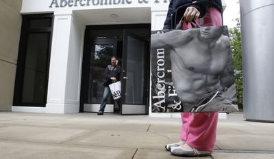 In this photo from May 17, 2011, customers leave an Abercrombie & Fitch store in Palo Alto, Calif. (Associated Press)