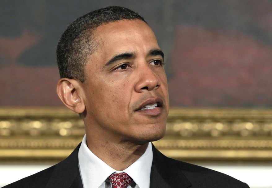 **FILE** In this photo from May 31, 2011, President Obama speaks in the State Dining Room of the White House. Republicans and Democrats scolded Obama on June 3, 2011, for dispatching U.S. forces against Libya without getting congressional approval. (Associated Press)