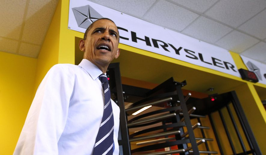 President Obama acknowledges reporters on June 3, 2011, before greeting workers during a shift change at Chrysler Group's Toledo Supplier Park in Toledo, Ohio. (Associated Press)