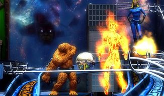 The Thing, Human Torch and Invisible Girl assist players in Zen Studios' Marvel Pinball: Fantastic Four.