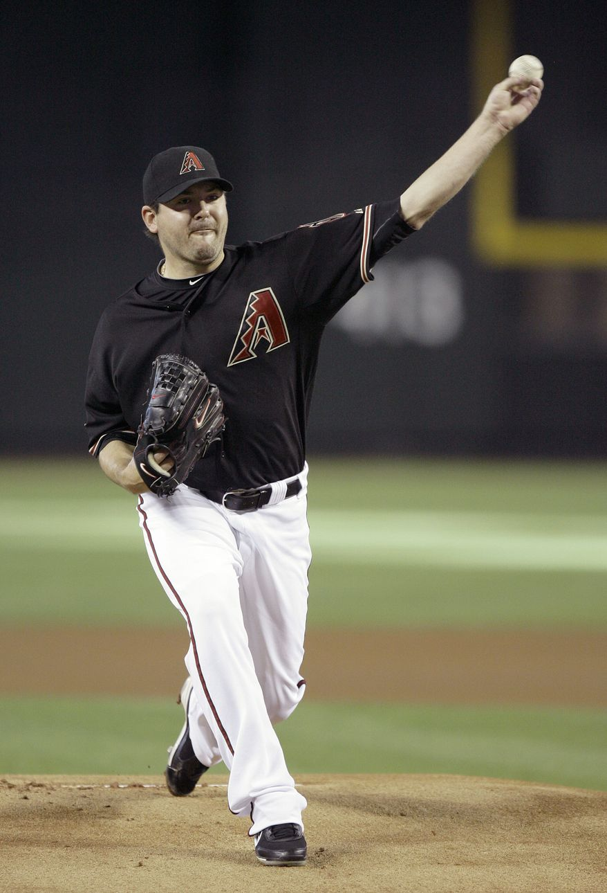 Arizona Diamondbacks starter Joe Saunders allowed just two hits and struckout five in his seven innings pitched against the Washington Nationals. Arizona won 2-0. (AP Photo/Paul Connors)