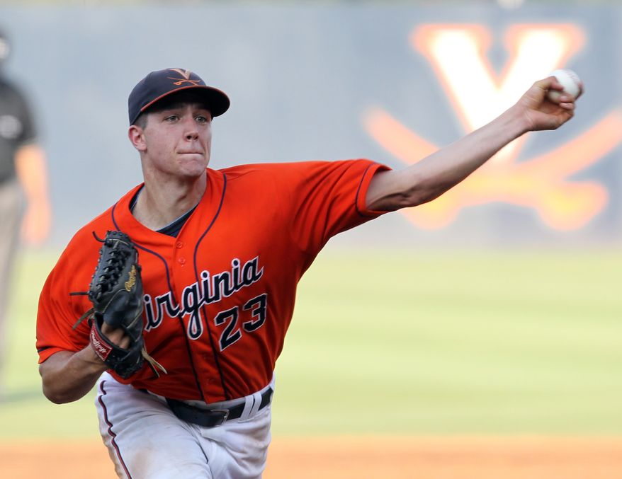 Virginia pitcher Danny Hultzen (23) throws the ball during Game 4 of the NCAA college regional baseball tournament against St. John's on Saturday, June 4, 2011, in Charlottesville, Va. Virginia won 10-2 and Hultzen threw seven innings, allowing one run and striking out 12. (AP Photo/Andrew Shurtleff)