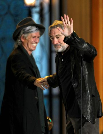 ASSOCIATED PRESS Keith Richards (left) and Robert De Niro share the stage at Spike TV's annual Guys Choice Awards. Mr. Richards claimed the night's final honor, a lifetime achievement trophy
