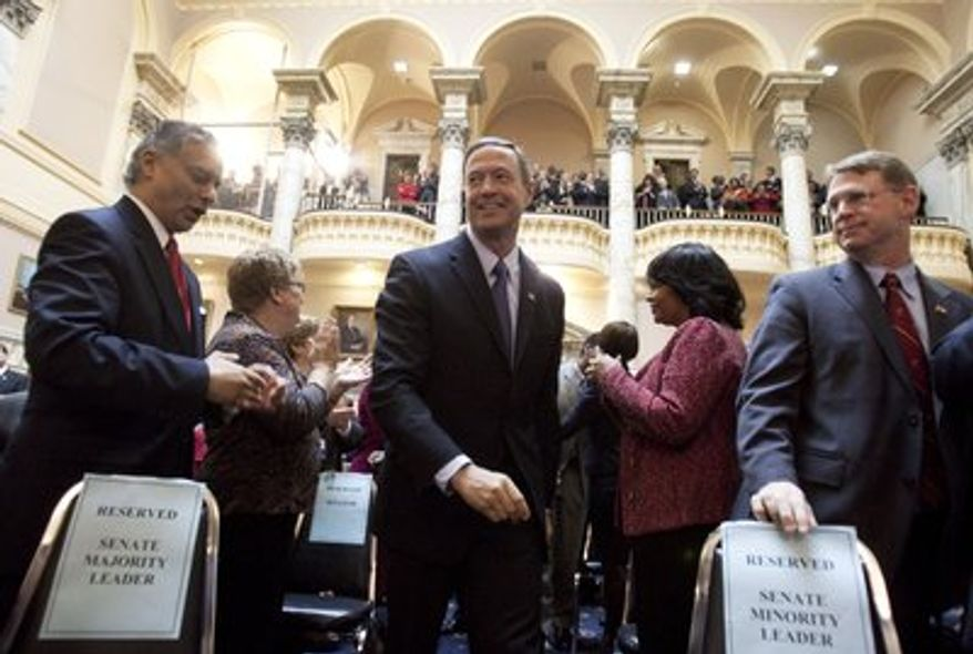 ** FILE ** Maryland governor Martin O'Malley on the floor of the General Assembly. (Associated Press)