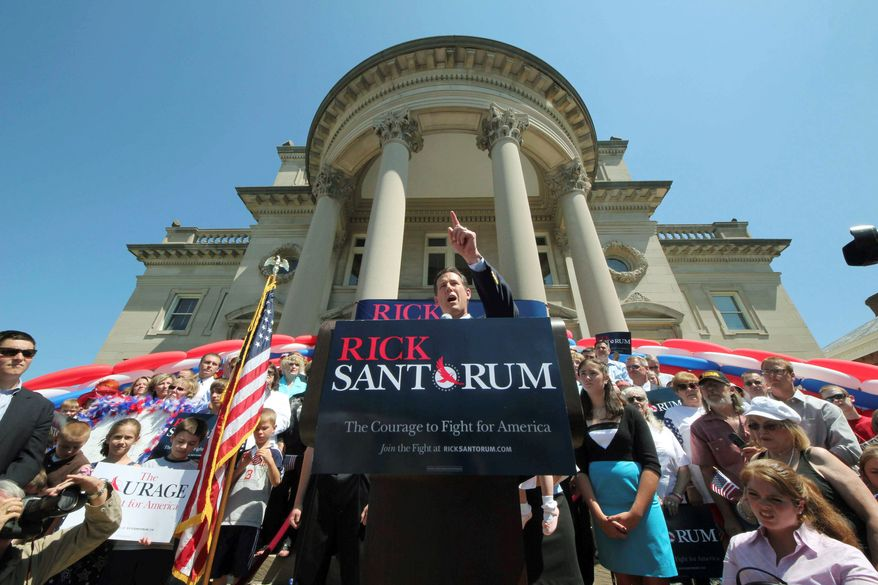 Associated Press With a courthouse in Somerset, Pa., as backdrop, former Sen. Rick Santorum of Pennsylvania announces he is entering the crowded field for the 2012 Republican presidential nomination. He criticized President Obama as having put the country on a path to moral and fiscal ruin.