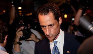 Anthony D. Weiner leaves a New York news conference on Monday, June 6, 2011, at which he confessed that he tweeted a lewd photo of himself to a college-age woman. (AP Photo) ** FILE **