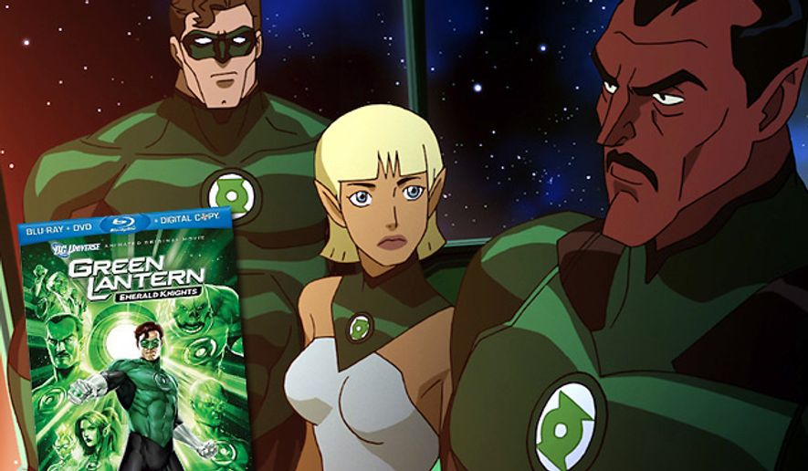 Hal Jordan, Arisi and Sinestro chat in Warner Home Video's direct-to-Blu-ray release Green Lantern: Emerald Knights.