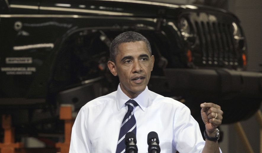 ** FILE ** President Obama speaks on June 3, 2011, in front of a Jeep Wrangler at Chrysler Group's Toledo Assembly complex in Toledo, Ohio. (Associated Press)