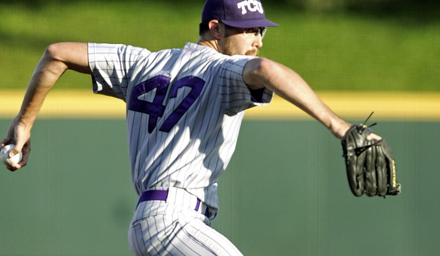 TCU's Matt Purke was 16-0 as a freshman last season, but shoulder bursitis contributed to a loss of velocity on is fastball this year. He was taken by the Nationals in the third round Tuesday, No. 96 overall. (Associated Press)