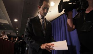 Rep. Anthony D. Weiner, New York Democrat, leaves a news conference in New York on Monday, June 6, 2011, after admitting to sending a lewd photo of himself in underwear to a college student. (AP Photo/Richard Drew)