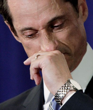 A teary Rep. Anthony D. Weiner, Democrat of New York, confessed at a news conference in New York on Monday that he tweeted a bulging-underpants photo of himself to a young woman after denying he did so for days. (Associated Press)