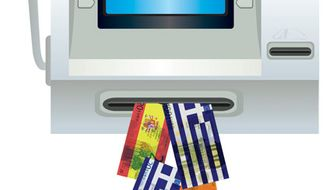 Illustration: IMF bailout by Linas Garsys for The Washington Times
