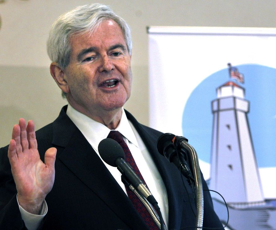 ** FILE ** Republican presidential hopeful Newt Gingrich, a former House speaker, addresses the Seacoast Republican Women at a breakfast meeting at the Portsmouth Country Club in Portsmouth, N.H., on Thursday, May 26, 2011. (AP Photo/Elise Amendola)