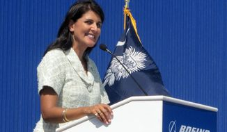 ** FILE ** South Carolina Gov. Nikki Haley speaks during the dedication of Boeing Co.'s $750 million final assembly plant in North Charleston, S.C., on Friday, June 10, 2011. (AP Photo/Bruce Smith)