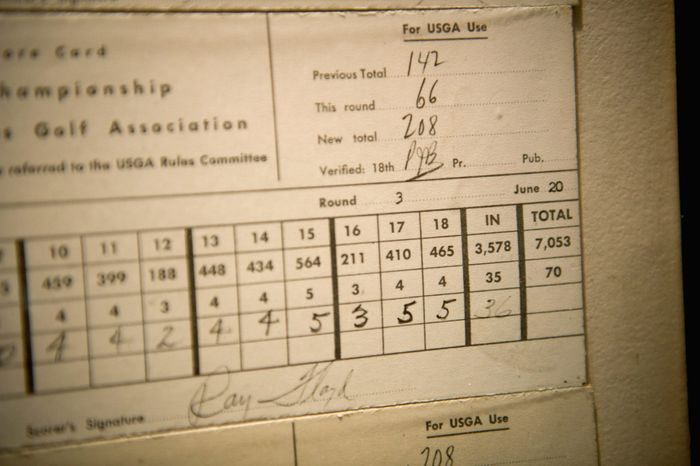 Ken Venturi's score card, on display at the Congressional Country Club in Bethesda, Md., Thursday, June 9, 2011. (Rod Lamkey Jr./The Washington Times)