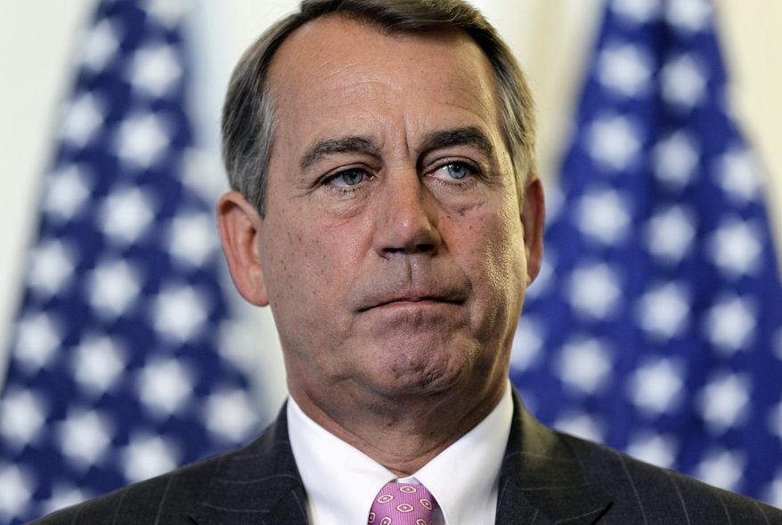 House Speaker John Boehner talks to the press following a political strategy session on Capitol Hill in Washington, Tuesday, June 14, 2011. (AP Photo/J. Scott Applewhite)