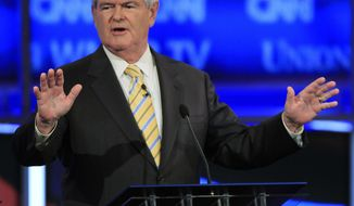 Former House Speaker Newt Gingrich speaks during the first New Hampshire Republican presidential debate at St. Anselm College in Manchester, N.H., Monday, June 13, 2011. (AP Photo/Jim Cole)