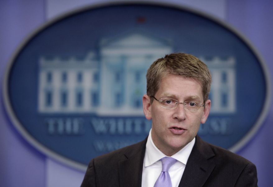 White House press secretary Jay Carney gives his daily news briefing at the White House on Wednesday, June 15, 2011, in Washington. (AP Photo/Carolyn Kaster)