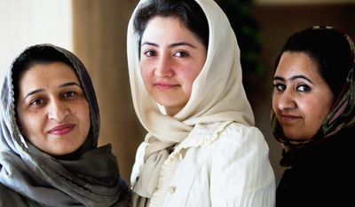 """PRATIK SHAH/THE WASHINGTON TIMES Eleven prominent Afghan women, including (from left) Hasina Safi, Farkhunda Naderi and Samira Hamidi, called on the United States to push for the inclusion of more female leaders in peace talks to end the war in Afghanistan. """"We want to take charge of our country ourselves,"""" Ms. Hamidi said."""