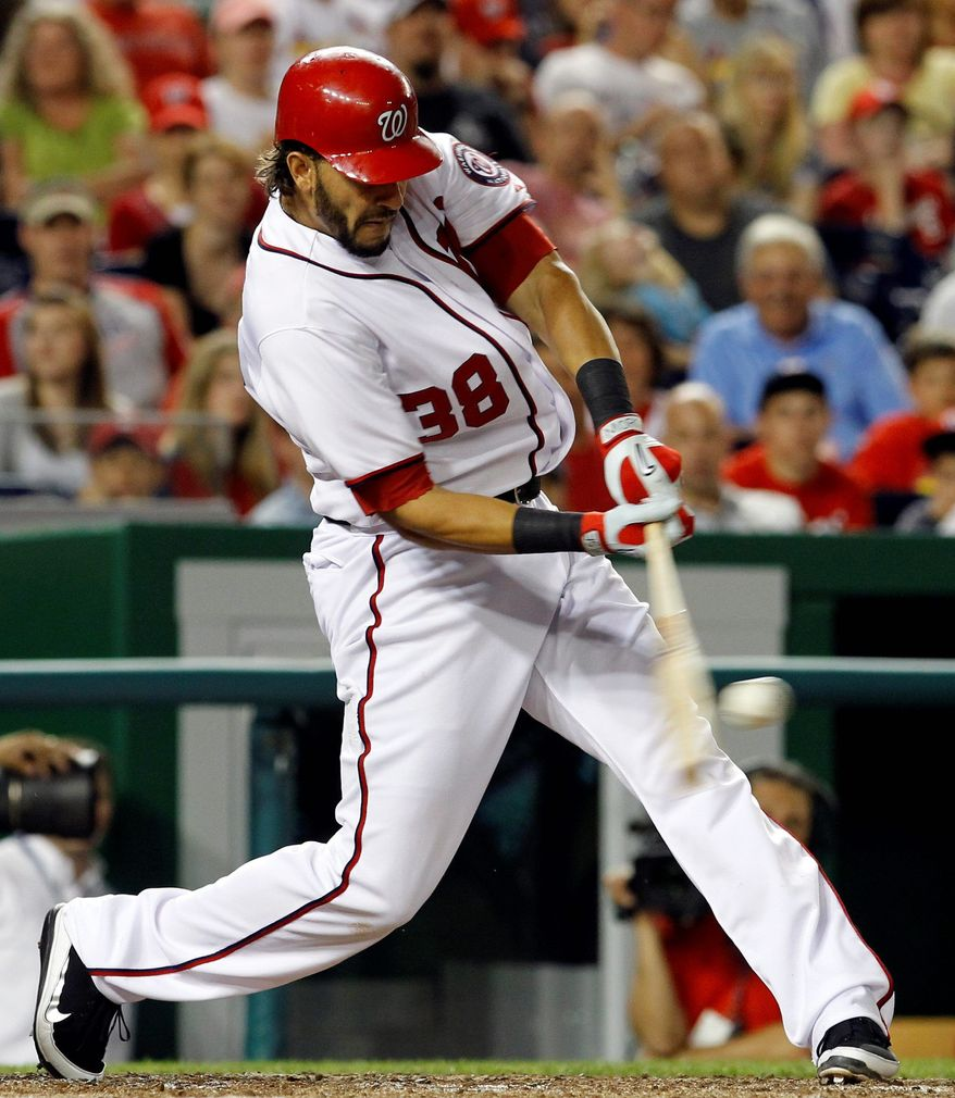 Nationals first baseman Michael Morse has been a steady power source since taking over for injured Adam LaRoche. He homered twice Wednesday night against St. Louis. (Associated Press)