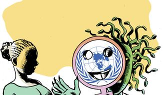 Illustration: United Nations & abortion by Alexander Hunter for The Washington Times