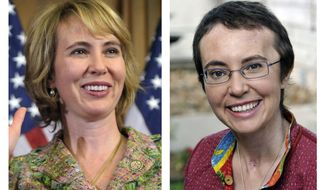 This photo combo shows Rep. Gabrielle Giffords, Arizona Democrat. At left, Giffords takes part in a reenactment of her swearing-in on Capitol Hill in Washington, on Jan. 5, 2011, three days before she was shot as she met with constituents in Tucson, Ariz. At right, Giffords is seen May 17, 2011, at TIRR Memorial Hermann Hospital in Houston, the day after the launch of space shuttle Endeavour and the day before she had her cranioplasty. (Associated Press/Susan Walsh/P.K. Weis)
