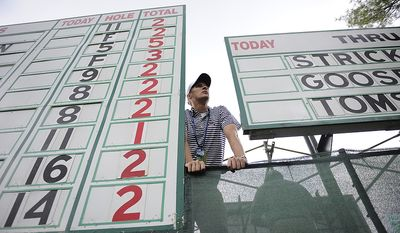 Volunteer Daryl Kircut, who was operating the scoreboard on the 6th hole watches the action below him during the first round of the U.S. Open at Congressional Country Club in Bethesda, Md., Thursday, June 16, 2011. (Drew Angerer/The Washington Times)