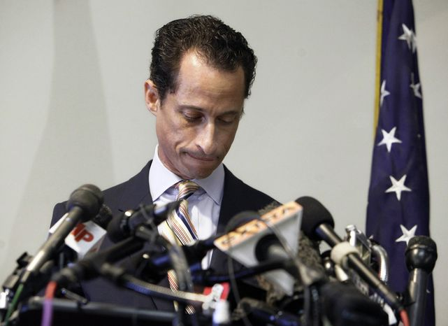 ** FILE ** Rep. Anthony D. Weiner announces his resignation from Congress on June 16, 2011, in the Brooklyn borough of New York. Mr. Weiner said he could not continue in office amid the intense controversy surrounding sexually explicit