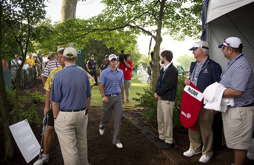 U.S. Open leader Rory McIlroy arrives to tee off at the first hole during the second round of the 2011 U.S. Open Congressional, in Bethesda, Md., Friday, June 17, 2011, and the first day of competition. (Rod Lamkey Jr./The Washington Times)