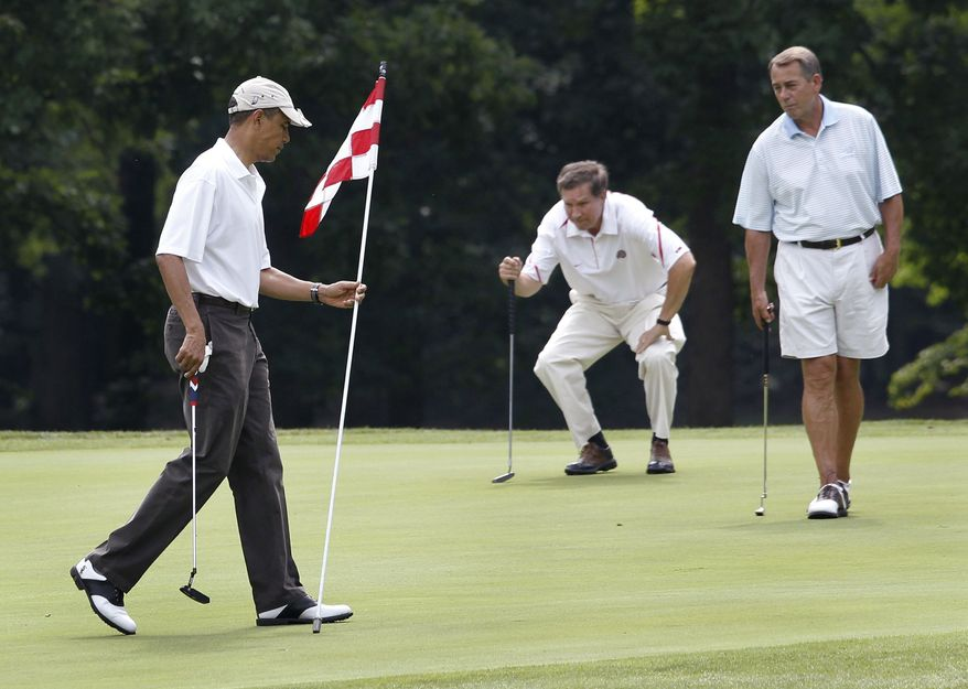 President Barack Obama, left, House Speaker John Boehner, R-Ohio, right, and Ohio Gov. John Kasich are on the first green as they play golf at Andrews Air Force Base, Md., Saturday, June 18, 2011. (AP Photo/Charles Dharapak)