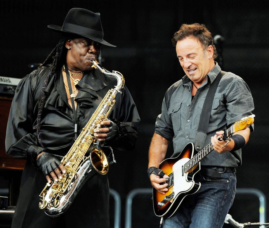 ASSOCIATED PRESS Saxophonist Clarence Clemons (left), shown performing with Bruce Sprinsteeen in 2009, died Saturday following a stroke. Fans gathered at the Stone Pony in Asbury Park, N.J., to mourn him.