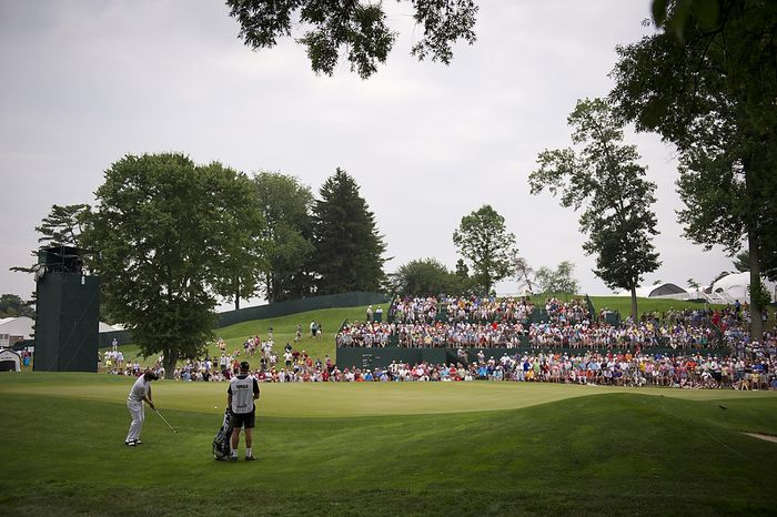 Luke Donald chips his way onto the sixth green during the championship round of the 2011 U.S. Open Congressional, in Bethesda, Md., Sunday, June 19, 2011. (Rod Lamkey Jr./The Washington Times)