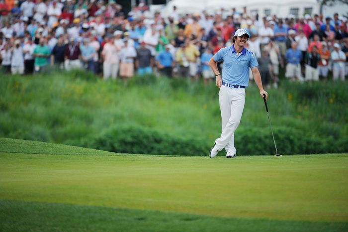 Rory McIlroy, of Northern Ireland, waits to putt on the 18th green to win the U.S. Open at Congressional Country Club in Bethesda, Md., Sunday, June 19, 2011. (Drew Angerer/The Washington Times)