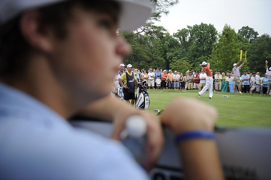 Australia's Jason Day tees off on the second hole during the final round of the U.S. Open at Congressional Country Club in Bethesda, Md., Sunday, June 19, 2011. (Rod Lamkey, Jr./The Washington Times)