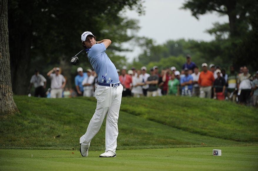 Rory McIlroy, of Northern Ireland, tees off on the 12th hole during his final round in the U.S. Open at Congressional Country Club in Bethesda, Md., Sunday, June 19, 2011. (Drew Angerer/The Washington Times)
