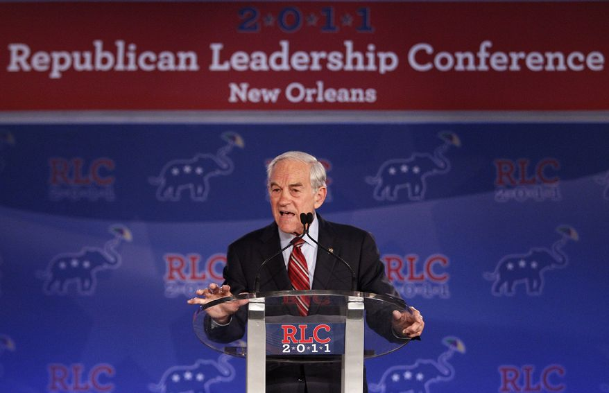 Rep. Ron Paul, who is running for the GOP presidential nomination, speaks at the Republican Leadership Conference in New Orleans on Friday, June 17, 2011. (AP Photo/Patrick Semansky)