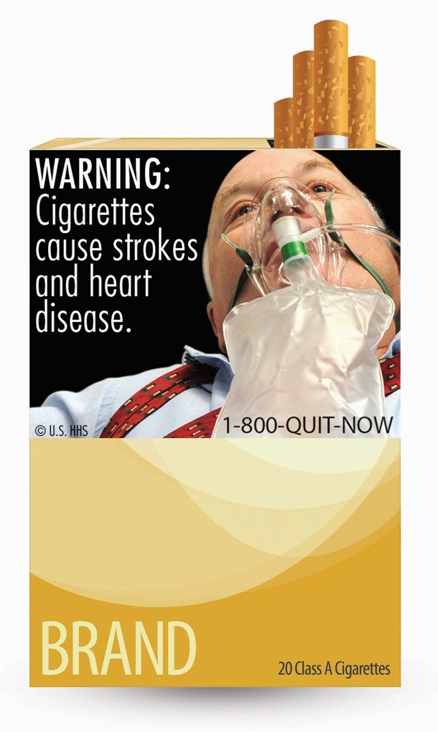 ASSOCIATED PRESS This image, provided by the U.S. Food and Drug Administration, is one of nine new warning labels that cigarette makers must use by the fall of 2012. In the most significant change to U.S. cigarette packs in 25 years, the FDA's the new warning labels graphically depict the health hazards of tobacco use.