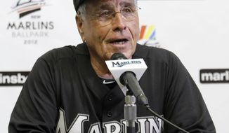 Florida Marlins interim manager Jack McKeon talks reporters during a news conference in Miami, Monday, June 20, 2011. This will be McKeon's second term as manager of the Marlins. (AP Photo/Alan Diaz)