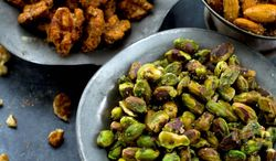 Associated Press Protein-rich but plain, nuts have always been the utility players of the snack world. Until now, that is. Clockwise from top are sweet butter-roasted almonds, smoky crusted walnuts and citrus-herb pistachios.