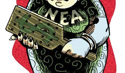 Illustration: NEA by Alexander Hunter for The Washington Times