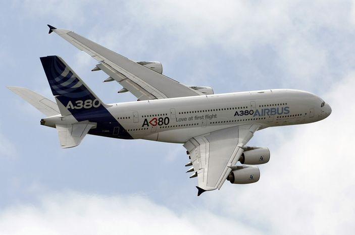 ** FILE ** The Airbus A380 giant jetliner (AP Photo/Remy de la Mauviniere)