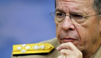 ** FILE ** Chairman of the Joint Chiefs of Staff Adm. Mike Mullen speaks during a media availability at the Pentagon on Thursday, June 16, 2011, in Washington. (AP Photo/Alex Brandon)